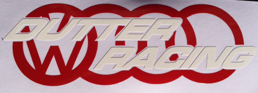 Aufkleber Dutter-Racing rot/weiß
