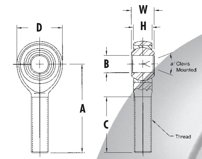 AURORA hochfeste Gelenkköpfe mit Außengewinde, Zollmaße