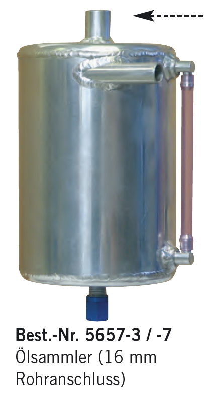 Aluminium-Ölsammelbehälter, Rund, 16 mm Rohranschluss