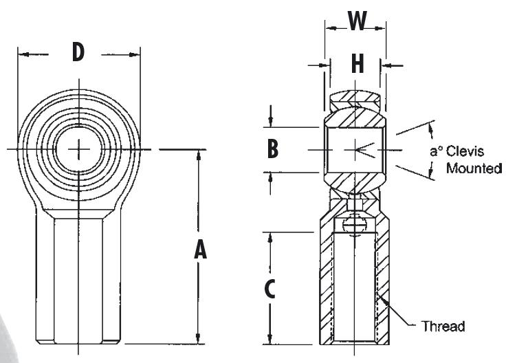 AURORA Standard Gelenkköpfe mit Innengewinde, Zollmaße
